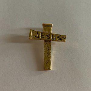 Jewelry - JESUS Cross Gold Plated Pendant ~ EUC